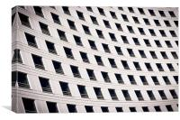 Windows on a curved building, Canvas Print