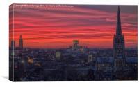 Norwich Sunset, Canvas Print