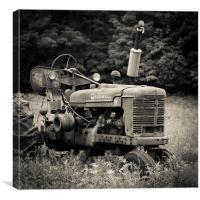 Old Tractor Black and White Square, Canvas Print