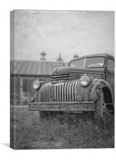 Old farm truck out by the barn, Canvas Print