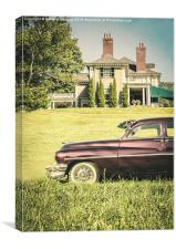Old classic car in front of large mansion, Canvas Print