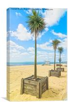 Palm trees on the beach at Bournemouth, Canvas Print