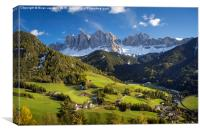Val di Funes and the Dolomites, Canvas Print