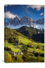 Val di Funes and Dolomites - Italy, Canvas Print