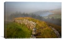 Misty Morning at Hadrian's Wall, Canvas Print
