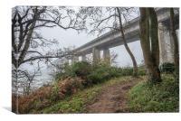 Bridge in the Misty Morning, Canvas Print
