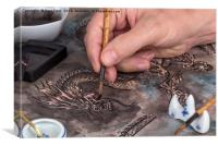 Artist painting a Chinese dragon, Canvas Print