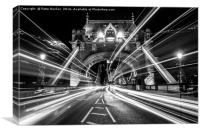 Light Trails in Monochrome., Canvas Print