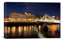 The Tradeston Footbridge at night, Canvas Print