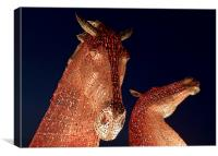 The Kelpies in red, Canvas Print
