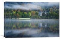 Autumn mist at Loch Achray, Canvas Print