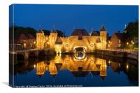 The Koppelpoort reflected at night, Canvas Print