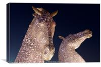 The Kelpies in Pink, Canvas Print