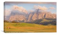 Last light at Alpe Di Suisi, Canvas Print