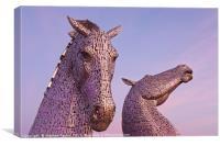 Pink Skies at the Kelpies, Canvas Print