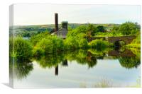 Canal reflections, Diggle, Saddleworth, Canvas Print