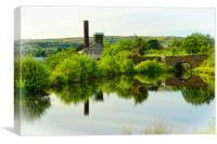 Canal reflections, Diggle, Saddleworth, Canvas Print