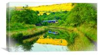 Canal reflections, Diggle, Saddleworth , Canvas Print