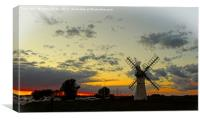 Thurne Mill Sunset          , Canvas Print