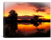 Thurne sunset Norfolk Broads          , Canvas Print