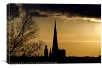 Norwich Cathedral Spire at sunset, Canvas Print