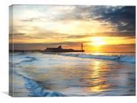 Sunrise surf., Canvas Print