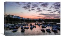 The sun setting over Tenby Harbour , Canvas Print