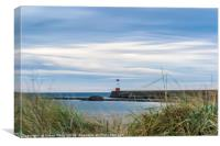 Berwick Lighthouse and Pier , Canvas Print