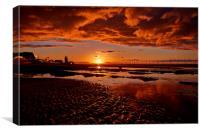 Redcar Beach Sunset, Canvas Print