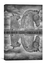 Kelpie Reflections (in mono), Canvas Print