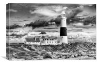 Portland Bill in mono. , Canvas Print