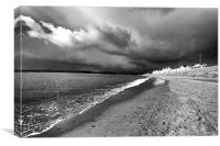 Storm over Exmouth in mono. , Canvas Print