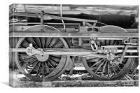 Train Wheels in monochrome., Canvas Print
