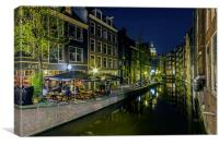 Reflections in the canal, amsterdam, Canvas Print