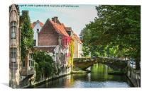 A Little Gem on a Bruges Canal, Canvas Print