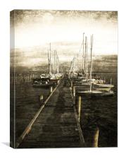 Overlooking The Yacht Dock Gray, Canvas Print
