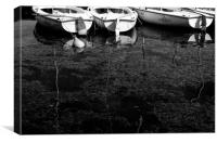 Black and White Boats, Canvas Print