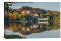 Autumnal reflection in lake Sirio, Canvas Print