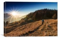 A Mountain Walk Towards The Sunset, Canvas Print