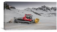 Piste Basher at Work, Canvas Print