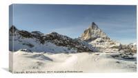 A panoramic view over the Matterhorn mountain peak, Canvas Print