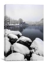 It's snowning over the lake, Canvas Print