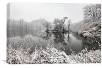 It's all frosty around the lake, Canvas Print