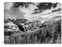 Atmospheric Snowy Mountain Landscape, Canvas Print