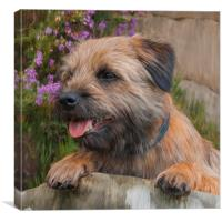 Oil Painted Border Terrier Dog With Heather Flowe, Canvas Print