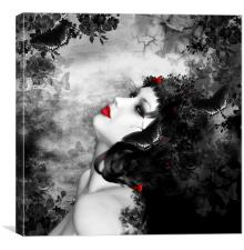 Gothic Fantasy Female With Butterflies, Canvas Print