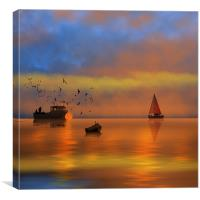 Sunset Fishing, Canvas Print