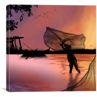 Night Fishing , Canvas Print