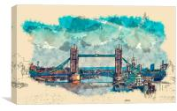 Tower Bridge London Watercolor And Sketch (Digital, Canvas Print