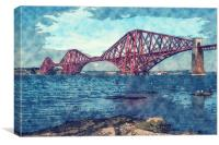 Forth Bridge Watercolor And Sketch, Canvas Print